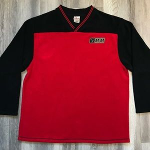 Disney Red/Black Color Block Pullover Sweatshirt L